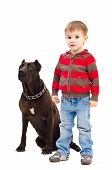 Cute boy standing next to a dog
