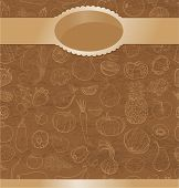Retro Vector Background With Contour Drawing Of Vegetables, Fruit, Berries