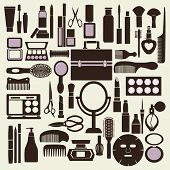 Cosmetics And Makeup Black And White Icon Set - Illustration