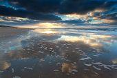 Beautiful Sunset On North Sea Beach