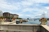Geneva, Switzerland - July 12, 2014. Waterfront Views Of Lake Geneva