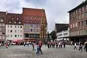 NURNBERG GERMANY - JULY 13 2014: Hauptmarkt the central square of Nuremberg Bavaria Germany. Nurembe