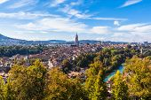 Panorama View Of Berne Old Town From Mountain Top