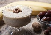 Smoothie With A Banana With Dates And Nuts  .