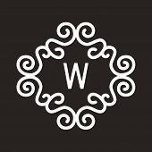 White Vector Vintage Twirl Frame for W Letter Monogram