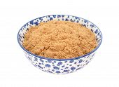 Light Brown Soft / Muscovado Sugar In A Blue And White China Bowl