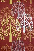 stock photo of gobelin  - Pho tree wallpaper on the wall of temple Thailand - JPG