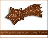 picture of comet  - Illustration of gingerbread comet with text Happy New Year 2015 - JPG