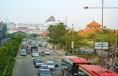 Malaysia, Penang, Georgetown - Circa Jul 2014: Traffic Flows Away From The Passenger Pier On This St