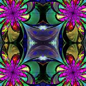 Pattern From Fractal Flowers. Purple, Green And Brown Palette. Fractal Design. Computer Generated Gr