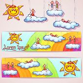 Vector rainbow banner with smiley sun, clouds and cute peoples