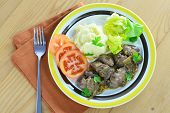 stock photo of liver fry  - Pan fried chicken liver with onions and mashed potatoes - JPG