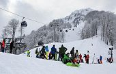 Skiers and snowboarders in Rosa Khutor Alpine Resort
