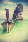 Retro Vintage Filtered Picture Of A Wooden Boat On Beach.
