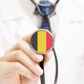 National Flag On Stethoscope Conceptual Series - Belgium