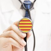 National Flag On Stethoscope Conceptual Series - Catalonia - Spain