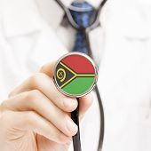 National Flag On Stethoscope Conceptual Series - Vanuatu