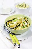 Italian Pasta With Ricotta And Fried Zucchini