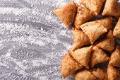 Indian Samosa Pastry On A Floured Table. Horizontal Top View