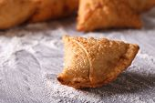 Indian Samosa Close-up On A Table With Flour. Horizontal
