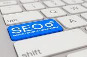 Keyboard - Search Engine Optimization - Blue