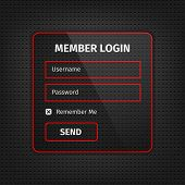 Red Member Login Ui On Black Background