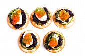 Caviar Appetizer Served On Crackers