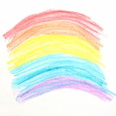 Oil Pastel Crayon's Picture With Painted Rainbow