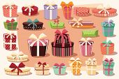 Collection Of Colorful Gift Boxes With Bows And Ribbons