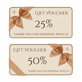 foto of ribbon bow  - Gift voucher template with golden ribbon and a bow - JPG