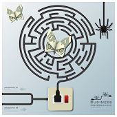 Maze Spider Web With Money Butterfly Electric Wire Line Business Infographic