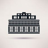 City hospital building in flat style vector.