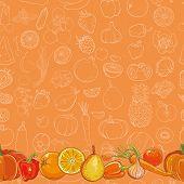 Set Of Orange Fruits And Vegetables On Orange Seamless Vector Pattern