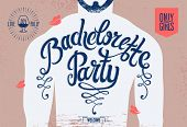 stock photo of hen party  - Calligraphic poster for bachelorette party with a tattoo on a man - JPG