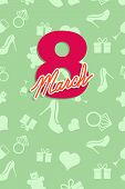 8 March. International women's day. Greeting card congratulations. Numbers of colors