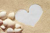 Heart on sand with seashells