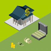 stock photo of billion  - bank building isometric icons for web money vector - JPG