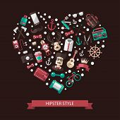 Heart illustration of modern flat design hipster icons