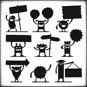 Vector Characters Holding Signs