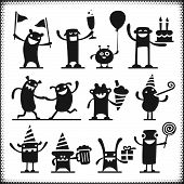 Partying Vector Characters