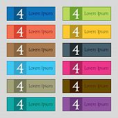 Number Four Icon Sign. Set Of Coloured Buttons. Vector