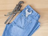 Blue jeans and vintage sanitary tools