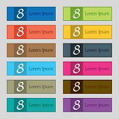 Number Eight Icon Sign. Set Of Colored Buttons. Vector
