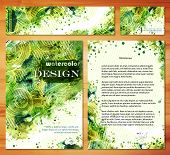 Template corporate identity with watercolor splash.