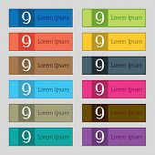 Number Nine Icon Sign. Set Of Colored Buttons. Vector