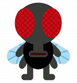 Vector Cartoon Funny Fly Insect Character Isolated
