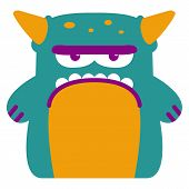 Vector Cartoon Funny Green Monster Character Isolated