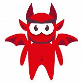 Vector Cartoon Funny Red Demon Character Isolated