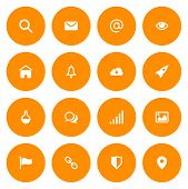 Flat Icon Set For Web And Mobile. Email And Web Icons