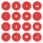 Flat Icon Set For Web And Mobile. User Interface And Navigation Icons